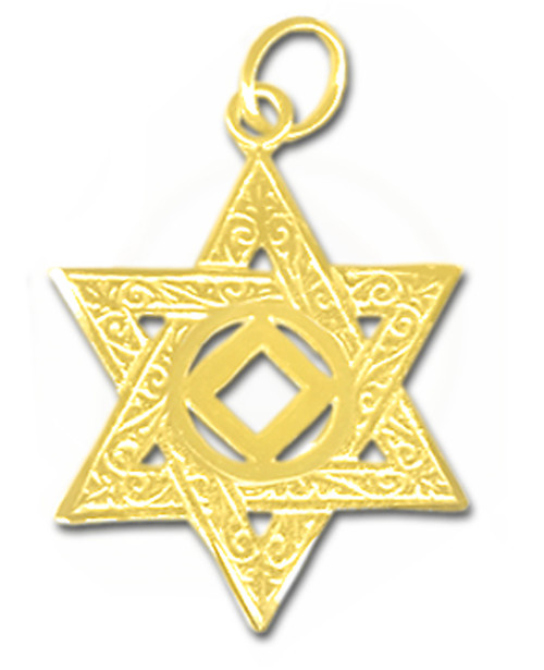 Style #570-10, 14k Gold Pendant, NA Symbol in a Jewish Star of David, Large Size