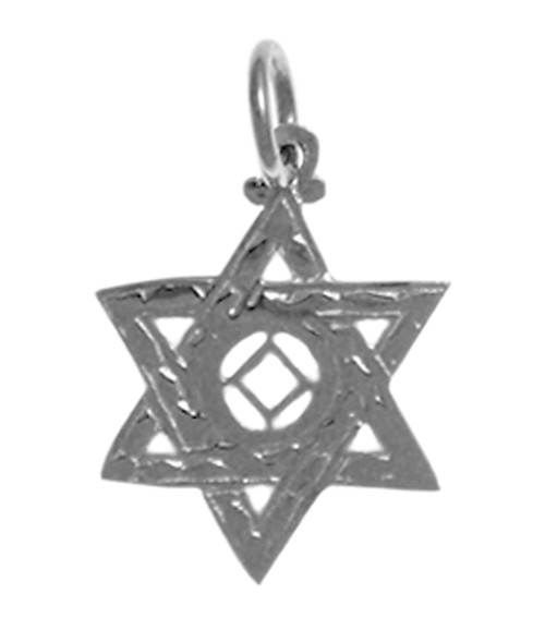Style #569-10, Sterling Silver Pendant, NA Symbol in a Jewish Star of David, Medium Size