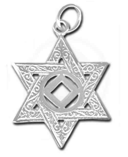 Style #570-10, Sterling Silver Pendant, NA Symbol in a Jewish Star of David, Large Size
