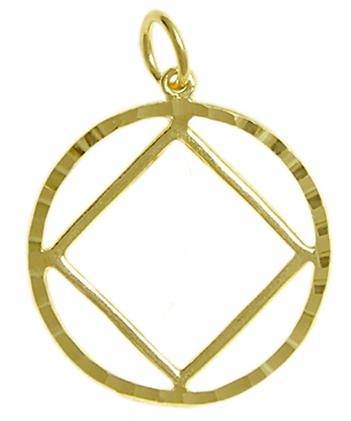 Style #361-9, 14k Gold Pendant, NA Symbol in a Diamond Cut Circle, Large Size
