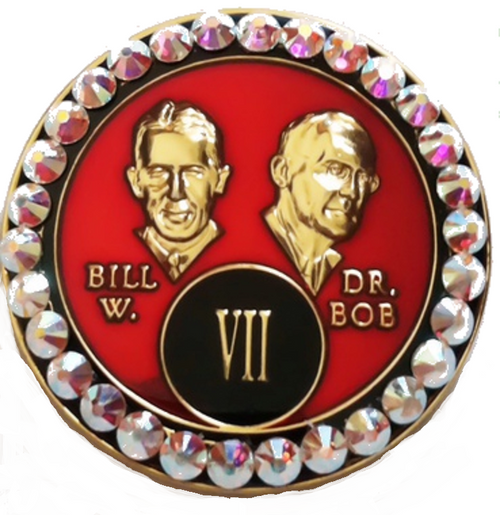 """This Tri-Plated medallion has white crystals inlayed within the circle on the front. The """"Rarely Have we Seen..."""" from chapter 5 of AA Big Book is in the back. A perfect recovery gift to celebrate that AA birthday/anniversary."""