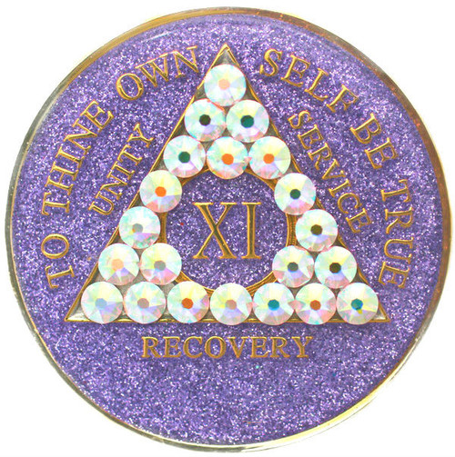 LAVENDER SPARKLE WHITE BLING TRI-PLATE MEDALLION WITH SWAROVSKI CRYSTALS
