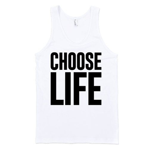 Unisex Choose Life White Tank - Anvil LightweightTank Top Unisex