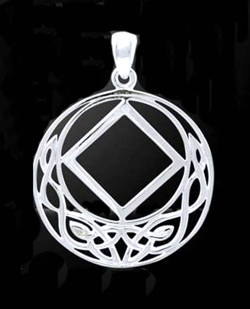 Gorgeous sterling silver onyx pendant for a great recovery necklace for those in Narcotics Anonymous!