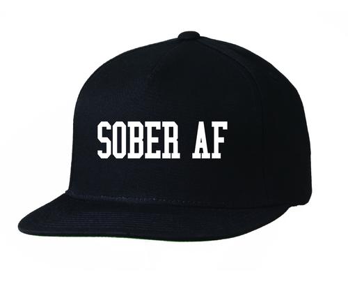 """""""SOBER AF"""" Hat 5 Panel Black Embroidered Cap"""
