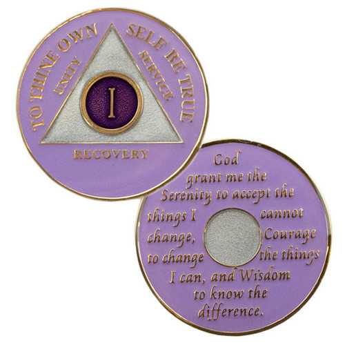 """Description: This gorgeous tricolor enamel AA medallion features the time-honored Twelve Step program phrase """"To Thine Own Self Be True,"""" with the anniversary year and """"Unity, Service, Recovery"""" on one side, and the Serenity prayer on the other."""