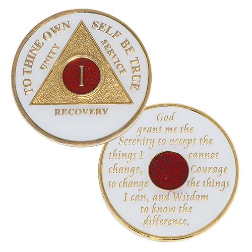 """Description: This gorgeous tricolor enamel AA medallion / AA coin features the time-honored Twelve Step program phrase """"To Thine Own Self Be True,"""" with the anniversary year and """"Unity, Service, Recovery"""" on one side, and the Serenity prayer on the other."""