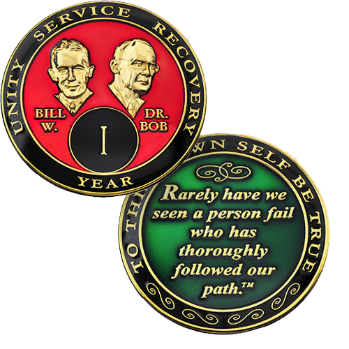 """Bill and Bob displayed prominently on the face, and plated in 24kt gold. -   The quote on the back of the coin reads """"Rarely have we seen a person fail who has thoroughly followed our path.""""  Please allow 7 - 10 days for delivery just in case."""