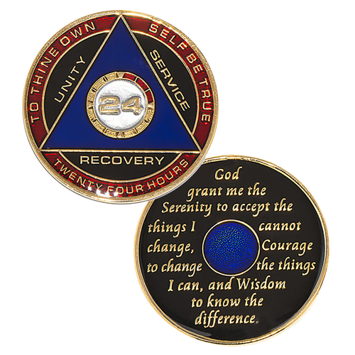 """This gorgeous tricolor enamel medallion features the time-honored Twelve Step program phrase """"To Thine Own Self Be True,"""" with """"24"""" and """"Unity, Service, Recovery"""" on one side, and the Serenity prayer on the other."""