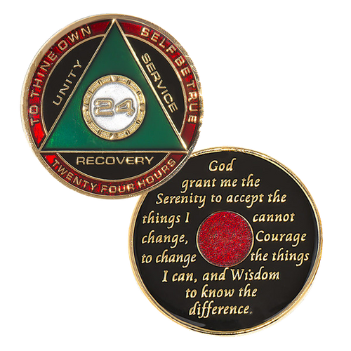 """Description: This gorgeous tricolor enamel medallion features the time-honored Twelve Step program phrase """"To Thine Own Self Be True,"""" with the anniversary year and """"Unity, Service, Recovery"""" on one side, and the Serenity prayer on the other."""