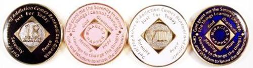"Anniversary NA Style Tri-Plated Medallions Tri-plated with gold plate, silver plate(nickel), color enamel and epoxy coating.  18 month & 1-30 years Available in Black, Blue, Ivory or Pink  A true ""Tri-plated"" medallion features the time honored program phrases ""Out of the Ashes of Addiction Comes Recovery and Growth"", ""Just for Today"" and the Serenity Prayer on reverse with ""Miracles Happen"""