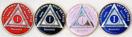 "AA Anniversary Coin ""God Centered-Sunlight of the Spirit"" Tri-Plated - 24 hrs to 40 Years!"