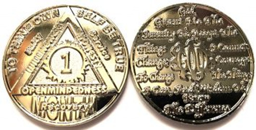 AA Anniversary Months Nickel Plated God centered-Sunlight of the Spirit coin- 24 hrs - Months & Years!