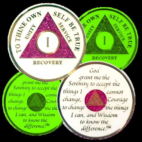 AA Glow In Dark, Pink Glitter Medallion (Years 1-50)