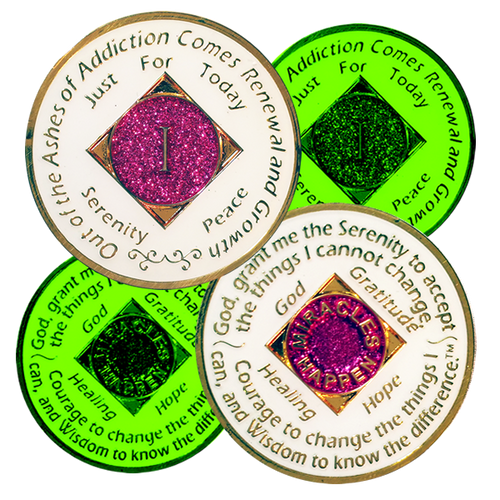 NA Recovery Medallion GLOW in the DARK Pink (Yrs 1-40)