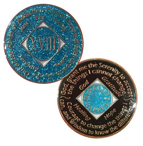 NA Medallion Glitter Blue (Yrs 1-40)