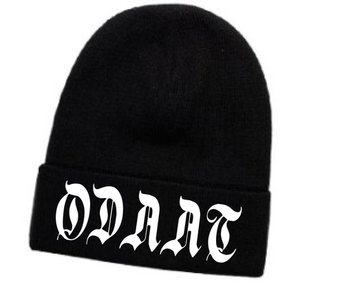 """""""ODAAT""""- One Day At A Time Embroidered Black Beanie"""