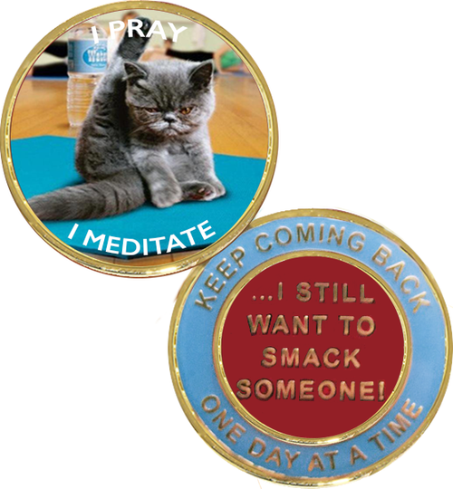 """I Pray, I Meditate.....I Still Want To Smack Someone!"""" Yoga Cat Medallion.    Sometimes a little humor is required!   A great coin to give to a sponsee or an old timer, fitting for all!   Grey fluffy, angry cat, on blue yoga matt, with brown flooring in yoga studio.  On the back, """"Keep Coming Back.  One Day At A Time"""" and """"...I still want to smack someone!""""  Light blue trim with gold lettering, center is red with gold writing."""