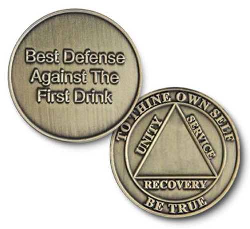 "Bronze ""Best Defense"" Against The First Drink Blank Specialty Coin Medallion"
