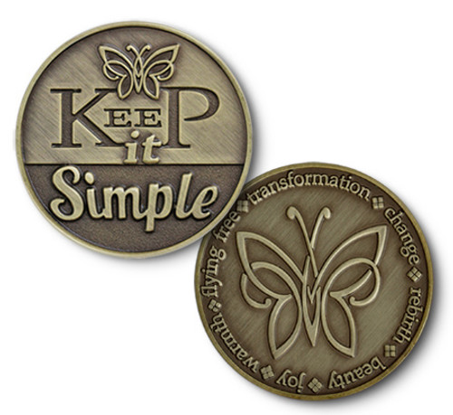 Keep It simple -aa, alcoholics anonymous, 12 step, twelve steps, hope, sponsor, gratitude, beautiful, enamel medallion, With Gratitude, Thanks, Big Book, Support, Mentor, Helping Hand, Knowledge, Strength, The perfect recovery gift in bronze thats inexpensive