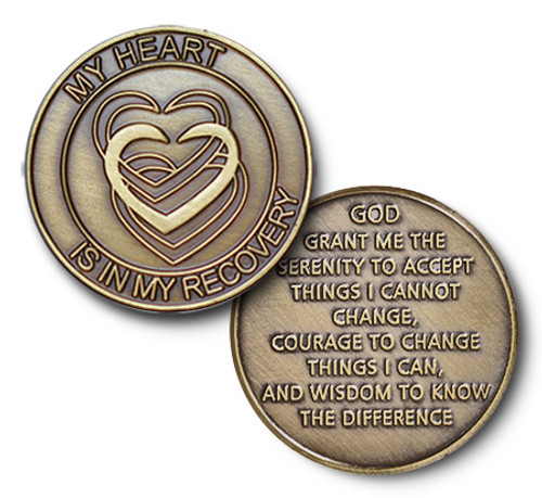 "Bronze ""My Heart Is In My Recovery""Specialty Tri-Plate Medallion"