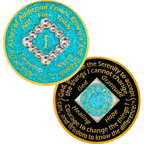 blue glitter bling na coins are here! Clean and serene!