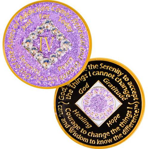 NEW! NA Bling Glitter Lavender Coin (Yrs 1-40) #N07