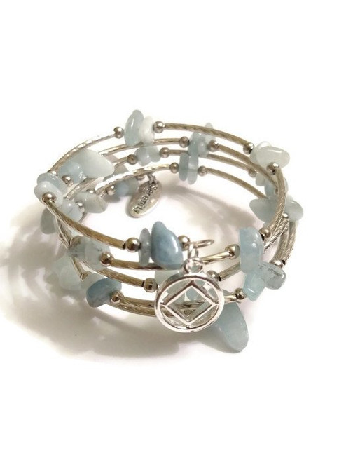 NA Aquamarine Wrap Around Wire Bracelet With Silver Tone Charms – 12 Step Recovery Narcotics Anonymous