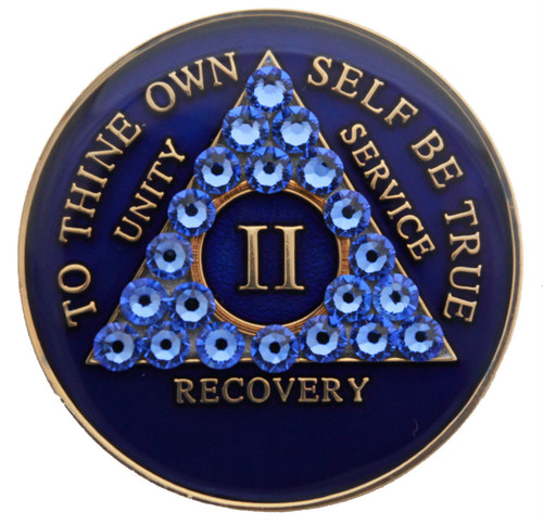 CRYSTALLIZED BLUE TRI PLATE BLING MEDALLION WITH SWAROVSKI CRYSTALS AA Alcoholics Anonymous