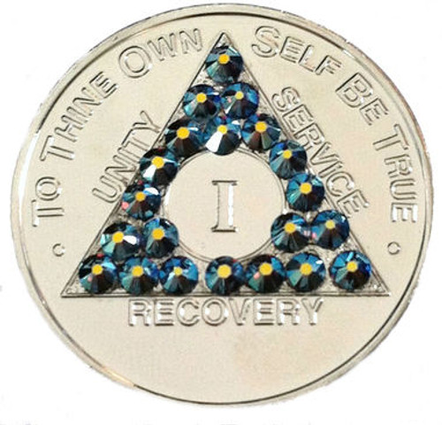 AMETHYST LIGHT BLUE CRYSTALLIZED NICKEL AA Alcoholics Anonymous Bling Coin