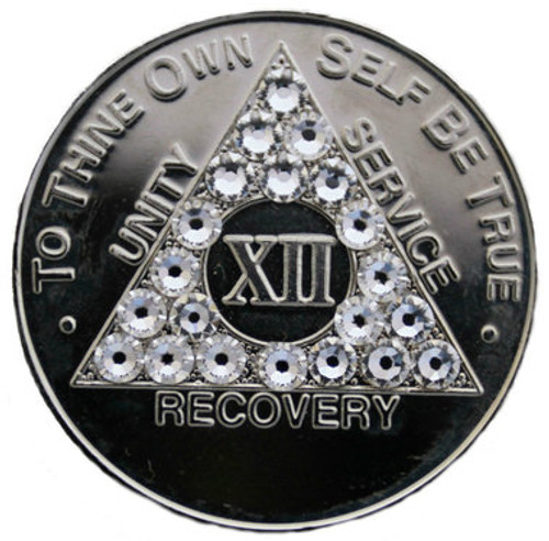 DIAMOND CRYSTALLIZED SILVER AA Alcoholics Anonymous Bling Coin  FOR THOSE WITH A SOBRIETY ANNIVERSARY!