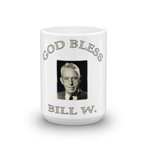 Ceramic God Bless Bill W. Mug
