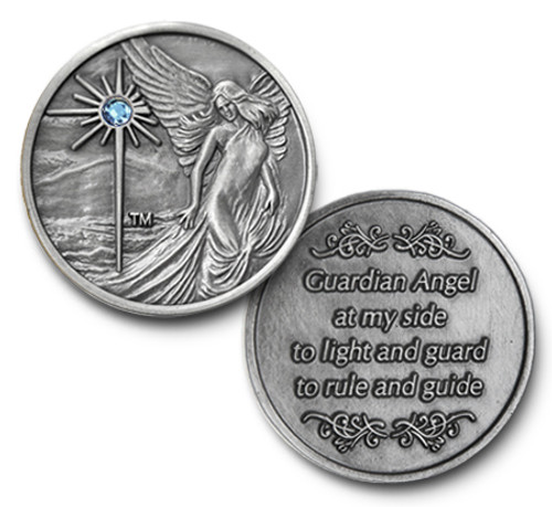 Antique Finish with Aqua  Guardian Angel Coin The perfect gift to remember our journey on recovery.