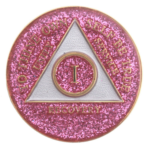 Glitter Tri Plate Pink Medallion Aa Alcoholics Anonymous