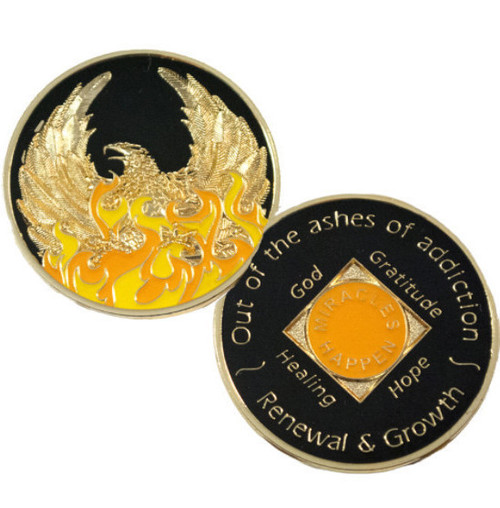 Phoenix Out Of The Ashes Of Addiction Medallion New