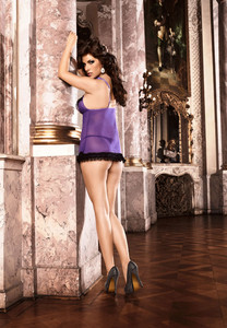 Purple Mesh Nightie with Black Ruffles