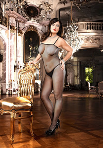 Body Stocking in Black Fishnet Look