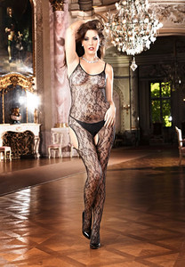 Black Floral Lace Peek-A-Boo Body Stocking