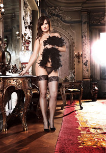 Sheer Black Mesh Lace Top Thigh High with Back Corset Lacing
