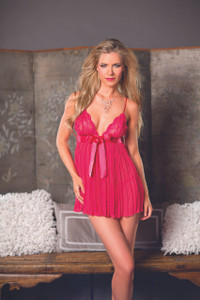 Empire Waist Crystal Pleated Babydoll