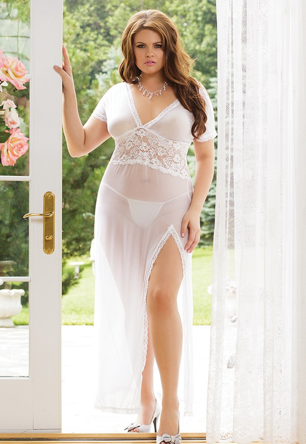 Plus Size Lingerie  Full Length Gown In Ultra Soft Mesh-1266
