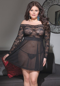 Off-The-Shoulder Babydoll in Mesh & Lace in Black