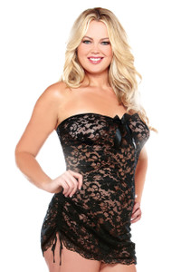 Strapless Lace Dress with Satin Bow in Black