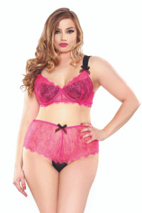 Eyelash Lace Two Tone Bra Set with Hipster Panty in Pink