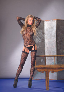 Stunning Matching Floral Lace Top, Thigh High & Thong Set in Black