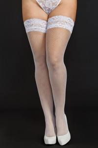 Fishnet Thigh High & Lace Top in White