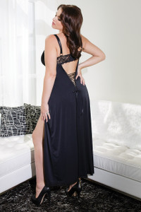 Full Length Microfiber Gown in Black