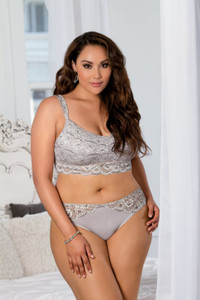 Embroidered Lace Bralet & Buttery Soft Hipster Panty Set