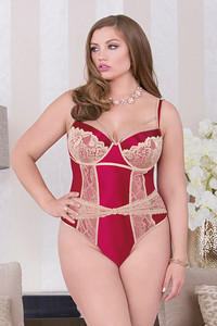 Mock Lace Cincher Detailed Teddy with Front Keyholes