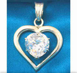 Tachyonized Heart Clear Round-Cut CZ Pendant Set in Silver